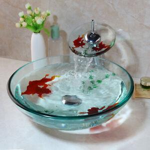 Bathroom/Kitchen Tempered Glass Vessel Vanity Sink Bowl With Faucet Set
