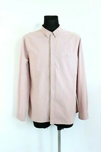 ASOS Baby Pink Solid Collared Button-Up Long Sleeve Denim Men Shirt Size XXL
