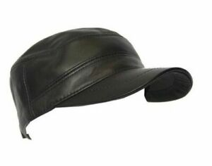MEN'S CASTRO BLACK SMARt REAL LAMBSKIN LEATHER NEWSBOY GATSBY CLASSIC HAT CAP