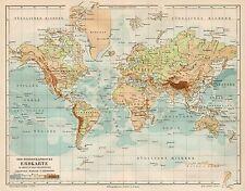 B6149 Hydrographic earth map - Carta geografica antica del 1890 - Old map
