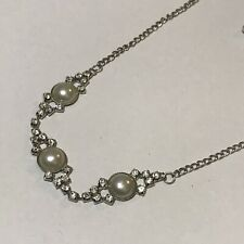 Vintage Style Faux Pearl and Rhinestones Fashion Costume Jewellery Necklace
