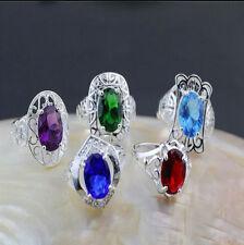 Wholesale Lots 5PCS  Fashion Jewelry 925 Silver Plate Crystal CZ Rhinestone Ring
