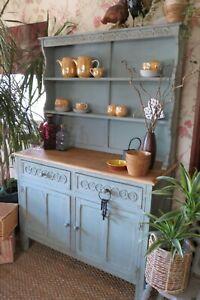 Rustic, farmhouse Kitchen dresser, display cabinet in Duck Egg Blue.