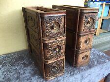 Antique Sewing machine drawers timber carved trinket vintage Needs Restoration