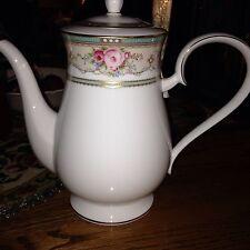 Noritake Palace Rose Coffee Pot NEW IN BOX Teal Pink Green Gold Trim