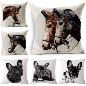bulldog & horse Cotton Linen Pillow Case Sofa Cushion Cover Fashion Home Decor