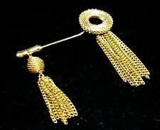 VTG Designer Signed Emmons Tassel Chains Stick Pin Brooch Runway Haute Couture