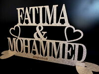 PERSONALISED MR & MRS GLITTER SIGN 2 NAMES SILVER /GOLD WEDDING TABLE DECORATION