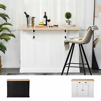 HOMCOM Fluted-Style Wooden Kitchen Island Cabinet with Drop Leaf and 1 Drawer