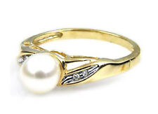 Pearl Ring 10K Yellow Gold Freshwater White pearl & Diamond Accent ring