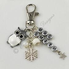 Navidad Blanca Nieve Con Dibujo De Búho profesores Personalizado bag/key encanto En Caja De Regalo