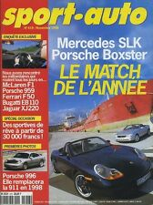 SPORT AUTO n°418 Novembre 1996* MERCEDES SLK PORSCHE BOXSTER