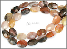 "Autumn Agate Flat Oval Faceted Beads 14mm 15.5"" #54066"