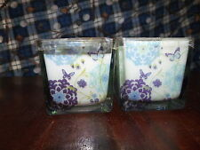 Pair/paraffin candles/multi-color glass holders- Butterfly-FreshOceanFlower-BH&G
