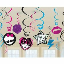 12 Monster High Party Birthday Style Hanging Cutout Swirls Decorations