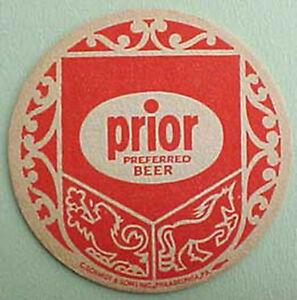 PRIOR PREFERRED BEER 1940s COASTER Mat Schmidt, Phildelphia PENNSYLVANIA Unicorn