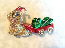 VINTAGE CHRISTMAS DOG PULLING WAGON WITH GIFTS BROOCH