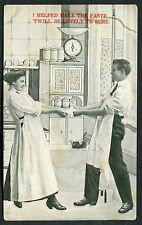C1910 Comic Card - Kitchen 'I Helped Make the Paste T'will be Lovely I'm Sure'