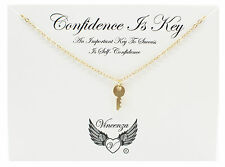 Gold plated Inspirational Message confidence is key Card Necklace Jewellery