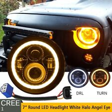 "DOT 7"" Inch Round LED Headlight Halo Angle Eyes For Jeep Wrangler JK LJ TJ CJ"