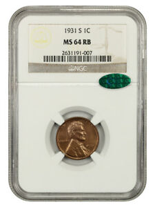 1931-S 1c NGC/CAC MS64 RB - Scarce Date - Lincoln Cent - Scarce Date