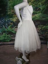 FANCY BRIDAL WEDDING GOWN DRESS 12 EMILY WHITE POLKA DOTS VINTAGE INSPIRED TEA