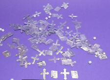 100 St. Streuteile = 70 x Kreuz 30 x Bibel silber Steudeko Kommunion Tischdeko