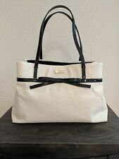 Kate Spade White Leather Handbag With Black Bow Great Condition