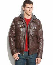 GUESS Genuine Leather Jacket  Removable Knit Hoodie Size Small NWT $600
