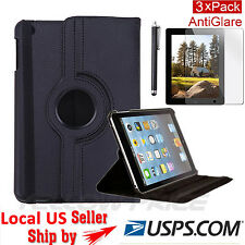 Black Rotating Stand Smart Cover Leather Swivel Case F iPad 2/3/4 Retina Display