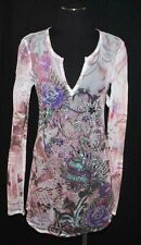 S-12 Floral Studded Sheer Body Hug Stretchy Long Mesh Blouse Top Shirt TunicS/M