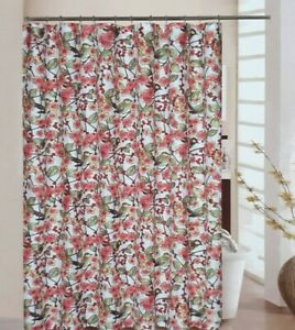 Waverly Fabric Shower Curtain In The Air Birds Flowers Hooks Included 70x72