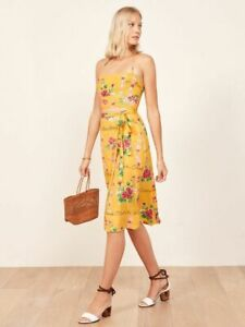 Reformation Umbria pacific islands novelty print dress women's size 2 yellow