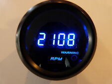 "2"" Digital Tachometer Blue LED Display Smoke Lens 9999 RPM - Warning Light"
