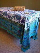"Handmade Floral Print Cotton Tapestry Tablecloth Spread 87"" x 90""  Aquamarine"