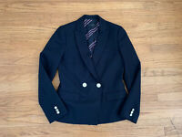 New J Crew Dover Womens sz 4 navy blue double breasted wool blazer jacket