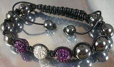 BLACK CORD MACRAME BRACELET purple, white DISCO BALLS, HEMATITE BEADS adjustable