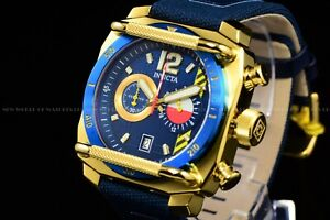 Invicta Men 48mm Aviator Gold and Blue Chronograph Nylon/Leather Strap Watch