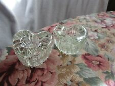 LOVELY+VINTAGE CLEAR CRYSTAL GLASS [HEART SHAPED]  CANDLE HOLDERS~ SET OF 2