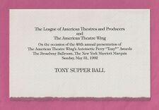 46th Annual TONY AWARDS Broadway Ballroom 1992 Supper Ball Invitation / Menu