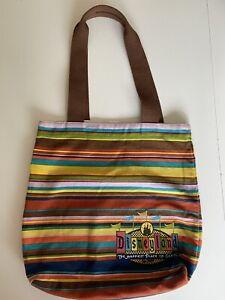 Disneyland Resort Retro Logo Striped Canvas Tote Bag - Excellent Used Condition