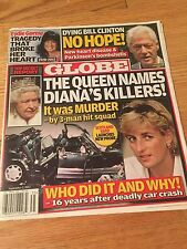 PRINCESS DIANA - QUEEN NAMES DIANA'S KILLERS - GLOBE MAGAZINE RARE!