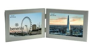 Double Photo Frame 6 x 4 Hold 2 Picture Silver Twin Landscape Folding Frame Gift