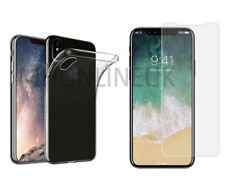Apple iPhone X 10 Clear Thin Gel Jelly Case Cover + Tempered Glass Screen Guard