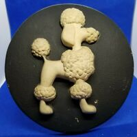 2 Millers Studio 1960's French Poodles Chalkware Mid Century Wall Plaques