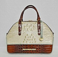 NWT Brahmin Hudson Satchel/Shoulder Bag in Linen Tri-Texture Beige, Pecan & Teal