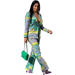 Fashion Women's Multicolor Print Long Sleeves Patchwork Casual Long Pants Set