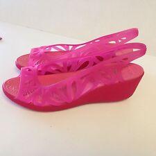 CROCS 14937 Womens Adrina III Mini Wedge Pink Jelly Sandal Size 8 M