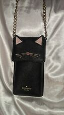 KATE SPADE New York Cats Meow North South Cross Body Phone Bag Black Leather