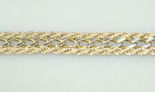 MILOR STERLING SILVER CABLE CHARM BRACELET W/ ROPE BORDERS 7.5 INCHES LONG ITALY